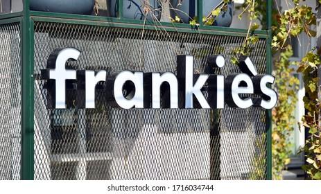 Warsaw, Poland. 27 April 2020. Sign Frankie's. Company signboard Frankie's