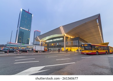 WARSAW, POLAND - 28 FEBRUARY 2014: Central Warsaw (Warszawa centralna) railway station in Poland. Warsaw is the capital and largest city of Poland with population estimated at 1,8 million residents.