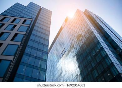 Warsaw, Poland. 28 March 2020. Skyscraper, Varso modern building in the city with sunlight. Office building window close up with sunrise, reflection and perspective.