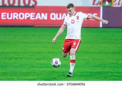 WARSAW, POLAND - 28 MARCH, 2021: FIFA World Cup Qatar 2022 Qualifiers Match, Poland Vs Andorra 3:0, o.p: Kacper Kozlowski of Poland