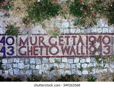 WARSAW, POLAND -29 AUG 2015- A piece of the Warsaw Ghetto Wall constructed by Nazi Germany in 1940 during World War II in the area inhabited by Polish Jews.