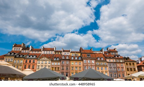Warsaw, Poland - 3 June 2016 - Colorful architecture in the Old Town in Warsaw, Poland, on a sunny day.