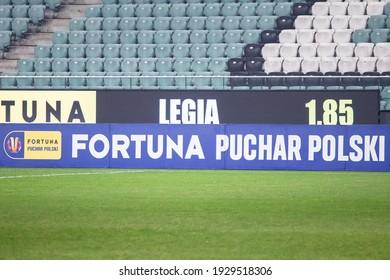 WARSAW, POLAND - 3 MARCH, 2021: Legia Warszawa - Piast Gliwice, quarter-final Fortuna Polish Cup: banner of Fortuna Puchar Polski