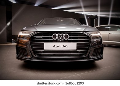Warsaw, Poland - 30.01.2019: AUDI A6 front of the car at presentation. Grid and Logo