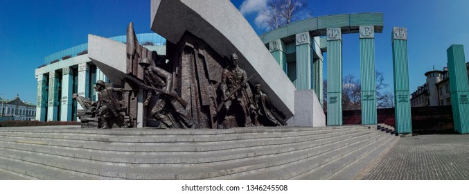 Warsaw, Poland - 30.03.18: Wide view of Monument to the Warsaw Rising dedicated to Warsaw Uprising in 1944 against the Nazi occupiers. This striking bronze tableau depicts Armia Krajowa fighters.