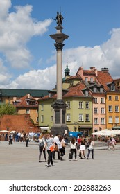 WARSAW, POLAND - 30th of June 2014: Old Town and The Royal Castle and Sigismund's Column called Kolumna Zygmunta  on 30th of June 2014 in WARSAW, POLAND