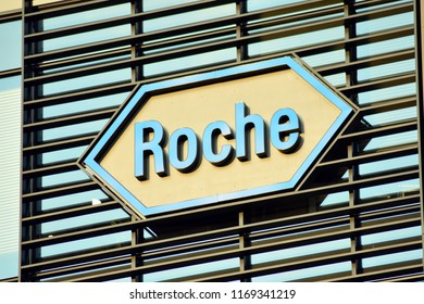 Warsaw, Poland. 31 August 2018. Sign Roche. Company signboard Roche.