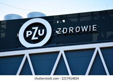 Warsaw, Poland. 31 Pctober 2018. Sign PZU Zdrowie. Company signboard PZU Zdrowie.