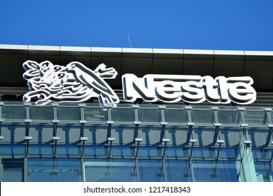 Warsaw, Poland. 31 Pctober 2018. Sign Nestle. Company signboard Nestle.