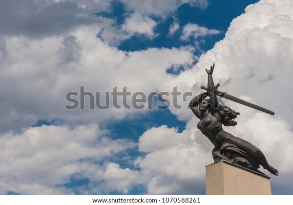 WARSAW, POLAND - 4 JULY, 2017: Nike- Monument to the Heroes of Warsaw by Marian Konieczny