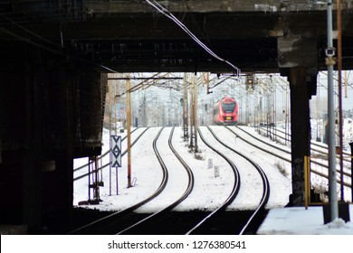 Warsaw, Poland. 6 January 2019. 35WE city train, produced by Newag and operated by SKM Warszawa in Warszawa Ochota rail station.