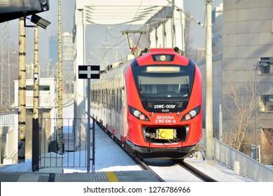 Warsaw, Poland. 7 January 2019. 35WE city train, produced by Newag and operated by SKM Warszawa in Warszawa Wola rail station.