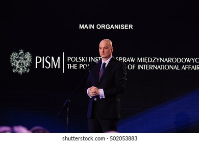 Warsaw, Poland, 8 July 2016. Presentation by Slawomir Debski, Director of Polish Institute of International Affairs in National Stadium in Warsaw Poland during the NATO summit on th 8th of July 2016.