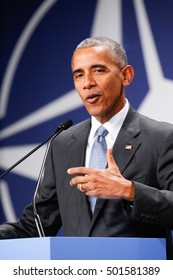 Warsaw, Poland, 9 July 2016. A statements of president of USA Barack Obama in National Stadium in Warsaw Poland during the NATO summit on th 9th of July 2016.