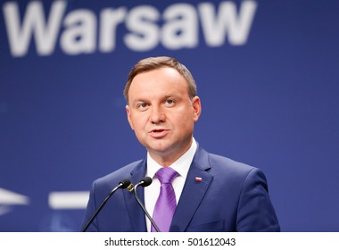 Warsaw, Poland, 9 July 2016. A statement of a president of Poland, Andrzej Duda in National Stadium in Warsaw Poland during the NATO summit on th 9th of July 2016.