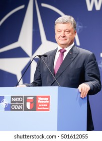 Warsaw, Poland, 9 July 2016. A statements of Ukrainian president Petro Poroszenko in National Stadium in Warsaw Poland during the NATO summit on th 9th of July 2016.