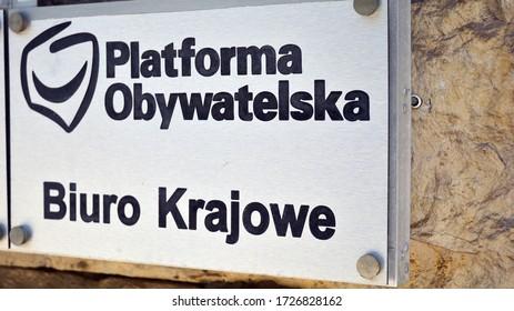Warsaw, Poland. 9 May 2020. Sign Platforma Obywatelska, Biuro Krajowe / National Office