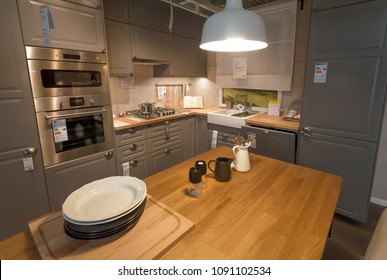 WARSAW, POLAND - APR 10: Designed modern kitchen with oven and fridge in IKEA store with furniture, decor and products for home on April 10, 2018. World's largest furniture retailer, founded in 1943