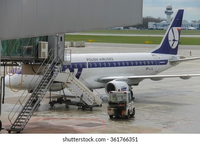 Warsaw, Poland - Apr 18, 2015: Preflight service of the plane in Warsaw Chopin Airport. WAW is the largest and busiest airport in Poland. It hosts more than 8 million passengers each year