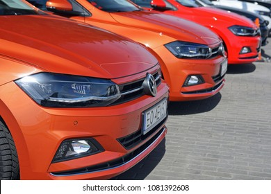 Warsaw, Poland - April, 04, 2018: Volkswagen Polo cars in the row on parking.