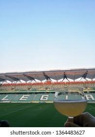 Warsaw, Poland - April 05 2019: Warsaw Beer festival held bi-annualy in Legia stadium in Warsaw