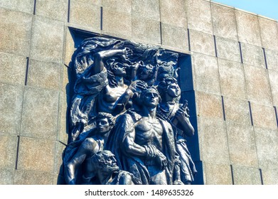WARSAW, POLAND, April 07 2018: Monument dedicated to the Ghetto Heroes located in front of the Museum of History of Polish Jews in Warsaw, Poland.