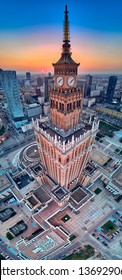 WARSAW, POLAND - APRIL 07, 2019: Beautiful panoramic aerial drone view to the center of Warsaw City and Palace of Culture and Science - a notable high-rise building in Warsaw, Poland