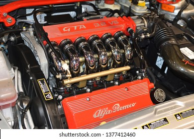 WARSAW, POLAND - APRIL 07, 2019: Engine of Alfa Rome GTA V6, closeup. Annual sale of vintage cars in Global Expo.