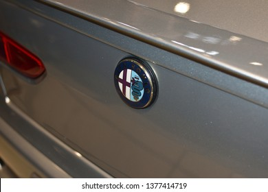 WARSAW, POLAND - APRIL 07, 2019: Back of Alfa Rome GTA V6 with an emblem, closeup. Annual sale of vintage cars in Global Expo.