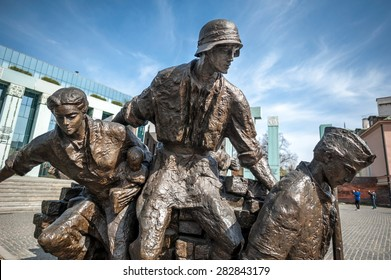 WARSAW, POLAND - APRIL 11, 2015: Warsaw Uprising Monument is dedicated to the Warsaw Uprising of 1944 and is the most important monument of post-war Warsaw.