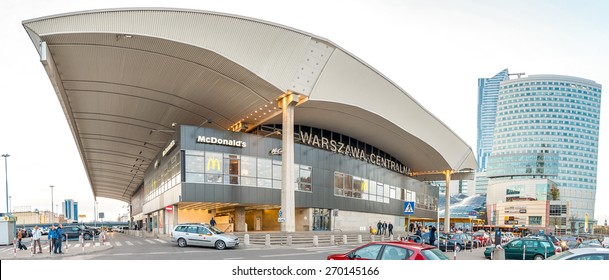 WARSAW, POLAND - APRIL 12: Warszawa Centralna railway station on April 12, 2015, Warshaw, Poland