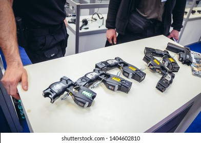Warsaw, Poland - April 13, 2011: Electroshock weapon on Europoltech Fair of Technology and Equipment for Police and National Security Services