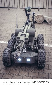 Warsaw, Poland - April 13, 2011: IBIS pyrotechnics and scouting robot on Europoltech Fair of Technology and Equipment for Police and National Security Services