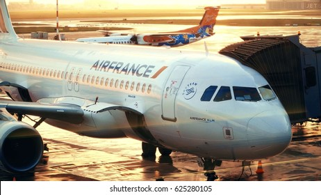 WARSAW, POLAND - APRIL, 14, 2017. Air France Airbus A320 airliner boarding at the airport in the evening
