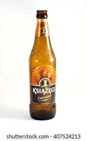 WARSAW, POLAND - APRIL 15, 2016. Empty bottle of Polish red beer Ksiazece
