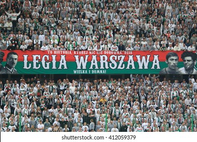 WARSAW, POLAND - APRIL 15, 2016: Legia Warsaw fanatical fans during polish league football match between Legia Warszawa and Lech Poznan in Warsaw.