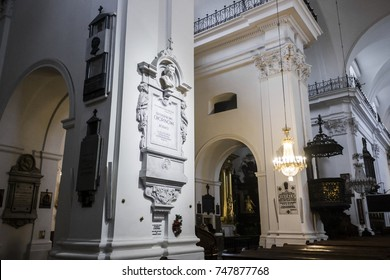 WARSAW, POLAND - April 15, 2017: Funerary monument on a pillar in Holy Cross Church, Warsaw, Poland, enclosing the heart of Polish composer Frederic Chopin