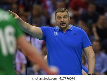 WARSAW, POLAND - APRIL 16, 2016: Volleyball Champions League Final Fourn/z TRENER HEAD COACH ZENIT VLADIMIR ALEKNO