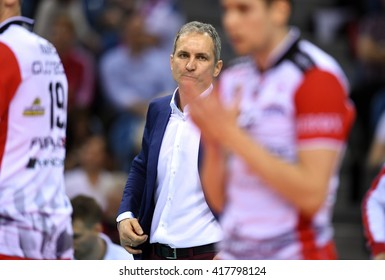WARSAW, POLAND - APRIL 16, 2016: Volleyball Champions League Final Fourn/z TRENER HEAD COACH ASSECO ANDRZEJ KOWAL