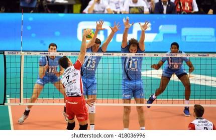 WARSAW, POLAND - APRIL 16, 2016: Volleyball Champions League Final Fourn/z ALEH AKHREM ( ASSECO ) IGOR KOBZAR ( ZENIT ) ANDREY ASHCHEV ( ZENIT )