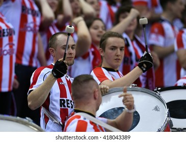 WARSAW, POLAND - APRIL 16, 2016: Volleyball Champions League Final Fourn/z Asseco Fans