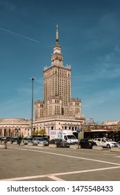 Warsaw, Poland - April 18, 2019: Palace of Culture and Science (PKiN) in Warszawa, Poland