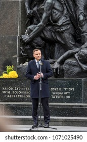 Warsaw, Poland - April 19, 2016: Andrzej Duda, President of the Republic of Poland, during the ceremony marking the 73 anniversary of the Warsaw Ghetto Uprising in front of the Ghetto Heroes Monument.