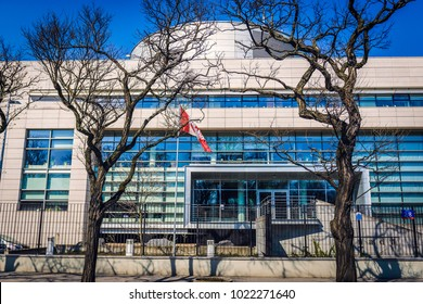 Warsaw, Poland - April 2, 2017: Front facade of building of Canadian Embassy in Warsaw