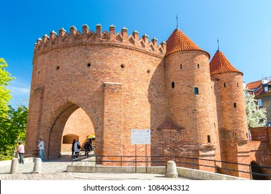 Warsaw, Poland - April 20, 2018: Historic Warsaw Barbican in the Warsaw Old Town.