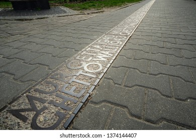 Warsaw, Poland. April, 2018.  the indication on the ground of the position where the wall of the Warsaw ghetto was located during the second world war