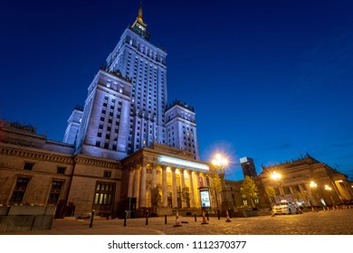 Warsaw, Poland - april 2018: Palace of Culture and Science by night