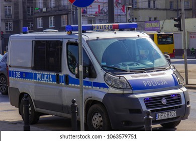Warsaw, Poland, April 2018, Police car parked on the street