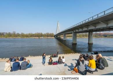 Warsaw, Poland. April 2018.   relax along the banks of the Vistula River in the spring