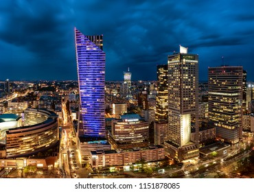 Warsaw, Poland, April 2018:Panoramic view of Warsaw downtown at night
